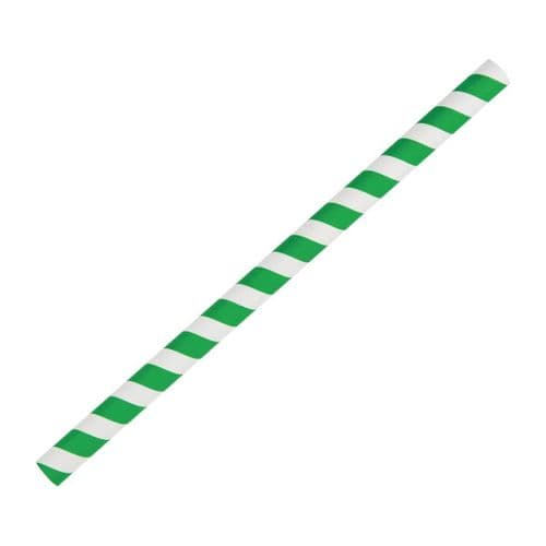 FB148 Fiesta Green Compostable Paper Smoothie Straws Green Stripes (Pack of 250)